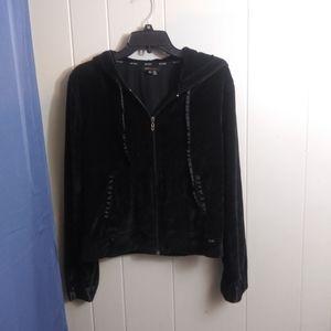 BCBGMaxAzria Black Velour Hoodie Size XL